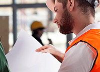 Worker with Paperwork