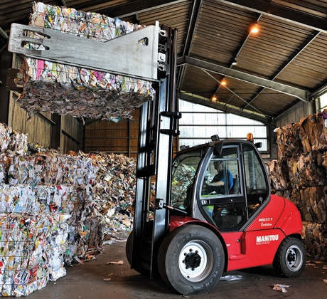 Fork Lift and baled waste